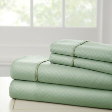 luxury 4 Piece Microfiber Embossed  Sheet Set Deep Pocket all size and colors
