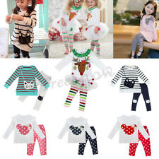 Toddler Baby Kids Girl Tutu Skirt Pants Long Sleeves Outfits Cotton Clothes Xmas