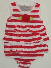 New First Impressions Nautical Red White Stripe Ruffle Sunsuit w/ ROSE 6-9M, 12M