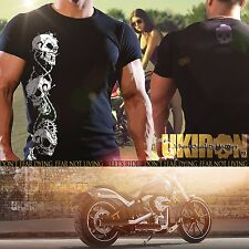 "UKIRON ""SKULL CHAINS""  Biker Rock T-Shirt HARLEY DAVIDSON Bike Rider top Cool UK"