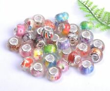 Mixed Silver Buckle Acrylic Beads/Core Fit European Charms Bracelets 14MM