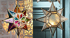 Moroccan style~Large hanging star glass lantern tealight holder with LED light