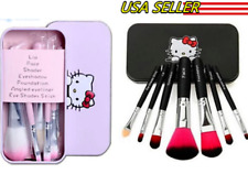 New 7PCS Hello Kitty Makeup Brushes Set W Metal Box Great Christmas Gift Black