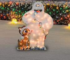 Christmas Yard Garden Decoration 32-Inch Pre-Lit Rudolph and Bumble 80 Lights