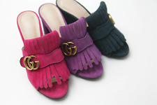 Handmade] Womens Shoes Suede Heel Slide  Mule Sandal Pumps Slipper Babouch