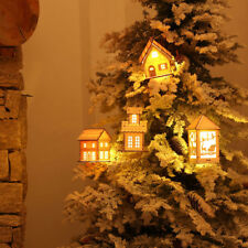 Christmas Tree Wooden Lighted Cabin House Hanging Ornaments Holiday Decoration