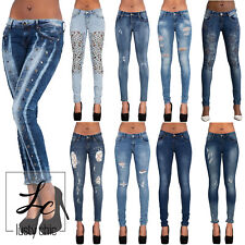Womens Cut Out Crochet Lace Ripped Jeans Ladies Sexy Embroidered Pants Size 6-14