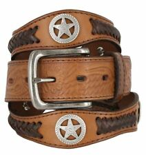 "Western Embossed Star Concho Genuine Leather Belt 1-1/2"" Wide Black Brown"