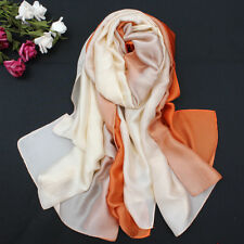 Women's Soft Silk Scarf Wrap Shawl Long Gradient Colors Fashion Beach Scarves