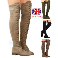 Women Lace Up Over Knee Thigh High Boots Wedge Heel Side Zip Riding Boots Shoes