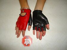 RED AND BLACK LEATHER FINGERLESS GLOVES SIZE 6.5, 7, 7.5