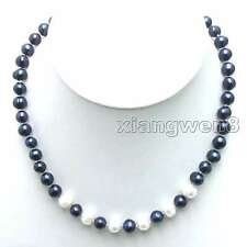"SALE Black 6-7mm Natural Freshwater Pearl 6 piece White PEARL 17"" Necklace-n5901"