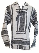 X-LARGE Mexican BAJA HOODIE - LIGHT GRAY - Mexican PONCHO Sweater Surfer