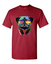 Dj Pug Neon Men T-Shirt Cardinal Cotton Funny Headphones Club Music Party New Dj