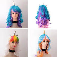 Lady Girls Unicorn Horn Long Curly Wavy Hair Wigs Party Cosplay Fancy Dress