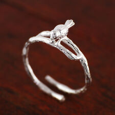 925 Sterling Silver Lovely Bird on Branch Adjustable Thumb Ring size 5 A3626