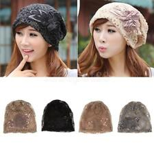 Womens Lace Flower Slouchy Beanie Hat Chemo Cancer Alopecia Turban Caps