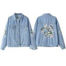 Womens BF Style Loose Blue Denim Jacket  Vintage Back Embroidery Jeans Outwear