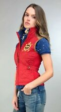 POLO RALPH LAUREN VEST Womens Quilted Equestrian Crest Suede Red or Cream XS S M