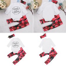 Little Sister Newborn Baby Girls Romper + Long Pants Floral Headband Outfits Set