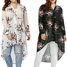 Womens Baggy Batwing Blouse Pullover Casual Crew Neck T Shirt Hi LO Dress Tops