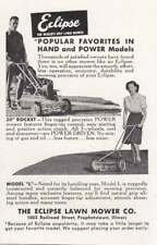 1948 Eclipse Lawn Mower: Hand and Power Models Vintage Print Ad