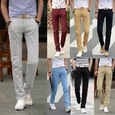 Stylish Mens Slim Fit Straight Leg Jeans Trousers Casual Pencil Business Pants