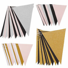 Glitter Bunting Paper Banner Triangle Party Flags Wedding Xmas Supply Dercor