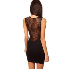 Hot Sexy Women Lace Mini Dress Cocktail Black Hollow out Skirt Clubwear AL