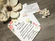 Handmade Personalised water colour Wedding Day Invitations RSVP FREE Envelopes