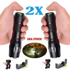 Zoom 50000LM XML T6 LED Flashlight Lamp +18650+Charger+Clip Powerful bright
