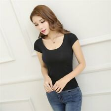 Low-cut Sexy Short-sleeved T-shirt Slim Tight Bottoming T-shirt with U-neck @G