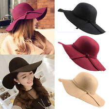 Vintage Women Lady Wool Felt Floppy Wide Brim Fedora Bowler Cloche Hat Cap @G