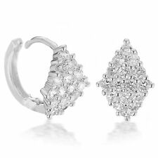18k Platinum White Gold Plated made with Swarovski crystal Huggie hoop earring