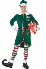 Deluxe Workshop Elf Adult Costume Fancy Dress Red Green Christmas Santa SM-XL