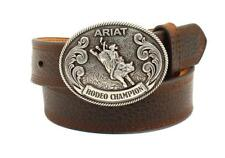 Ariat Western Boys Belt Kids Leather Classic Bull Rider Buckle Brown A1305802