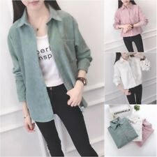 Classic Women's Casual Corduroy Long Sleeve Button Down Collar Shirt Blouse Tops