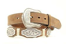 Ariat Western Mens Belt Leather Scallop Rawhide Large Concho Brown A1010602