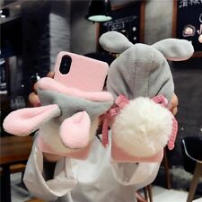 Lovely 3D Plush Rabbit Ear Hat Soft Winter Warm Case Cover For iPhone X 8 7 6s