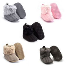 New Baby Infants Winter Warm Knitted Soft Cozy Faux Fur Thicken Solid Crib Shoes