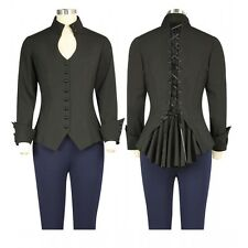 Black Gothic Steampunk Corset Detailed Long Sleeved Top Sizes 6 to 28 Plus Size