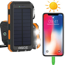 Solar Power Bank External Battery Charger 8000 mAh LED lights For Apple® iPhone®