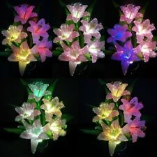 Colorful Lily Flower Change Potted Fiber Optic Lamp Home Party Wedding Decor TQ