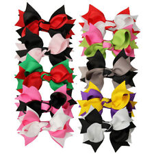 """10x 4"""" Girl Baby Layered Two Tone Boutique Hair Bow Alligator Clip Mix 10 Colors"""