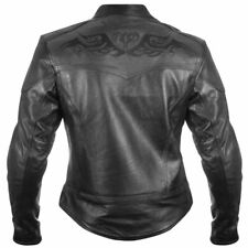 Womens Black Size S Embroidered Leather Motorcycle Biker Jacket Zip out lining