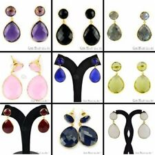Choose Your Natural Faceted Gemstone 21x42 mm Stud Dangle Earring, Gold Plated