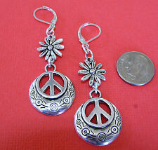 PEACE SIGN Daisy Flower Silver Plated Drop LEVERBACK earrings or ST kidney