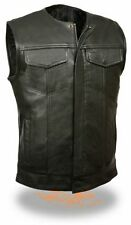 Leather Vest Biker Motorcycle Nappa Cowhide Leather S,M,L, XL,2XL, 3XL,4XL