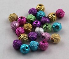 Free Ship 100Pcs Mixed Acrylic Loose  Spacer Beads Roses 8mm