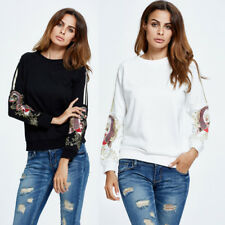 Women Floral Print Crew Neck Tops Long Sleeve Casual Loose Pullover Blouse Shirt